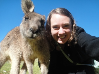 Selfie with a kangaroo! Pebbly Beach, New South Wales, Australia