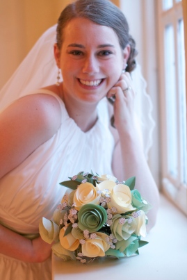 Bridal portrait (with the paper flowers I made!)