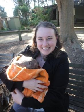 Holding a baby wombat! Bateman's Bay, New South Wales, Australia